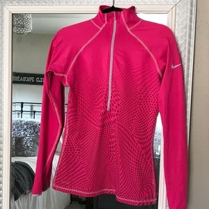 Nike Pro pink running pullover 3/4 zip dri fit top